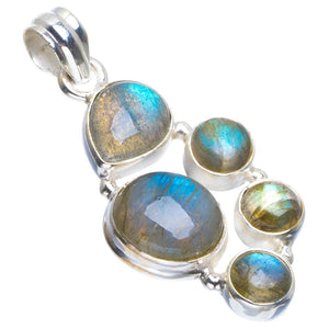 "Natural Blue Fire Labradorite Handmade Unique 925 Sterling Silver Pendant 1.75"" B3359"