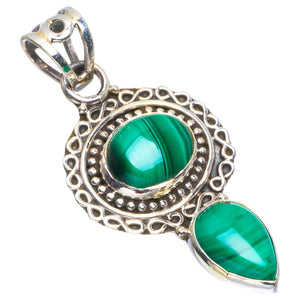 "Natural Malachite Handmade Unique 925 Sterling Silver Pendant 1.75"" B3362"