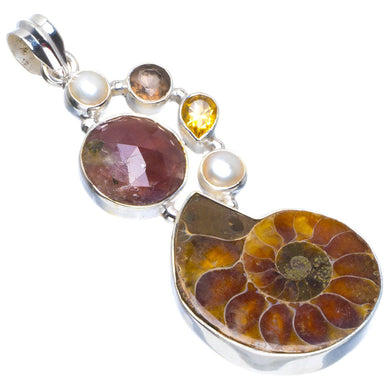 Natural Fossil Coral,River Pearl,Citrine and Rutile 925 Sterling Silver Pendant 2.25