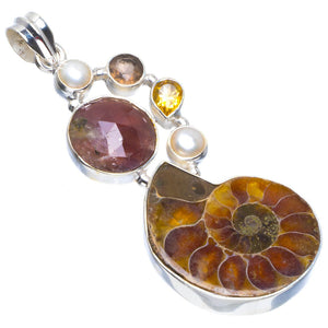 "Natural Fossil Coral,River Pearl,Citrine and Rutile 925 Sterling Silver Pendant 2.25"" B3369"