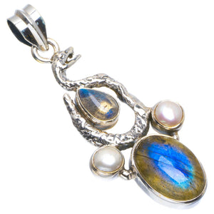 "Natural Blue Fire Labradorite and River Pearl Handmade Unique 925 Sterling Silver Pendant 2"" B3374"