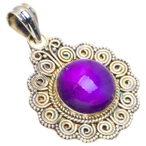 "Natural Amethyst Handmade Unique 925 Sterling Silver Pendant 1.5"" B3379"