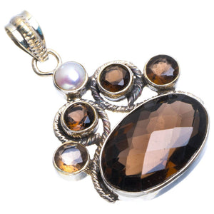 "Natural Smoky Quartz and River Pearl Handmade Unique 925 Sterling Silver Pendant 1.5"" B3383"