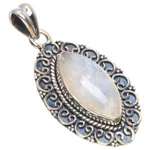 "Natural Rainbow Moonstone Handmade Unique 925 Sterling Silver Pendant 1.5"" B3392"