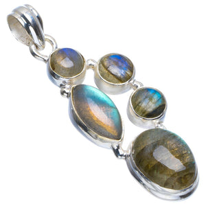 "Natural Blue Fire Labradorite Handmade Unique 925 Sterling Silver Pendant 2"" B3400"