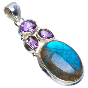 "Natural Blue Fire Labradorite and Amethyst Handmade Unique 925 Sterling Silver Pendant 2"" B3404"