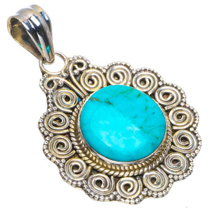 "Natural Turquoise Handmade Unique 925 Sterling Silver Pendant 1.5"" B3405"