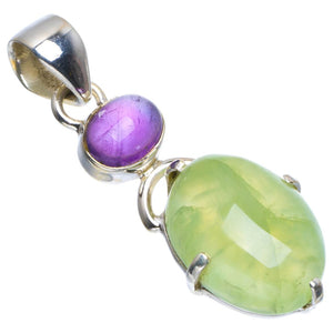 "Natural Prehnite and Amethyst Handmade Unique 925 Sterling Silver Pendant 1.5"" B3411"