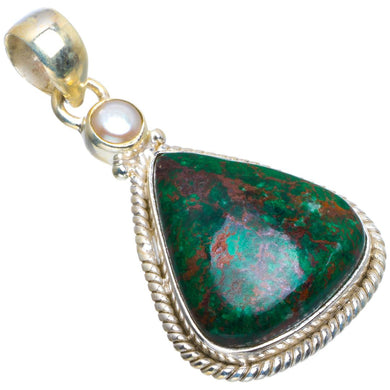 Natural Chrysocolla and River Pearl Handmade Unique 925 Sterling Silver Pendant 1.75