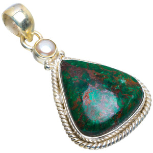 "Natural Chrysocolla and River Pearl Handmade Unique 925 Sterling Silver Pendant 1.75"" B3415"