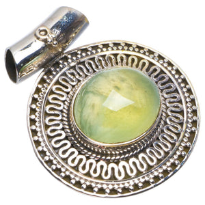 "Natural Prehnite Handmade Unique 925 Sterling Silver Pendant 1.25"" B3428"