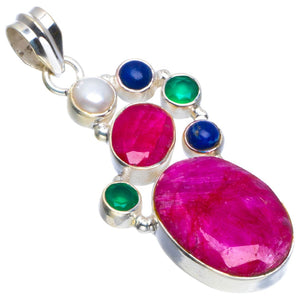 "Natural Cherry Ruby,Lapis Lazuli,Chrysoprase and River Pearl 925 Sterling Silver Pendant 1.75"" B3436"