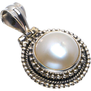 "Natural River Pearl Handmade Unique 925 Sterling Silver Pendant 1.5"" B3438"