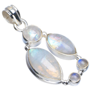 "Natural Rainbow Moonstone Handmade Unique 925 Sterling Silver Pendant 1.5"" B3443"