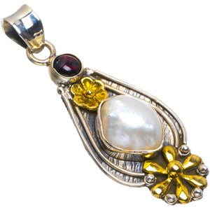 "Natural Two Tones Biwa Pearl&Amethyst Handmade Flower 925 Sterling Silver Pendant 2"" B3454"