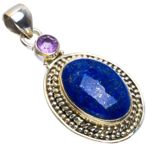 "Natural Lapis Lazuli and Amethyst Handmade Unique 925 Sterling Silver Pendant 1.75"" B3458"