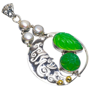 "Natural Two Tones Chrysoprase&River Pearl Handmade Leaf925 Sterling Silver Pendant 2"" B3462"