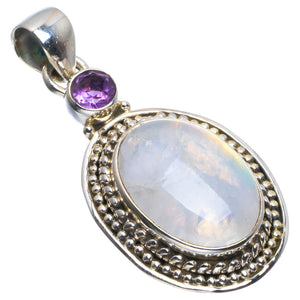 "Natural Rainbow Moonstone and Amethyst Handmade Unique 925 Sterling Silver Pendant 1.5"" B3475"