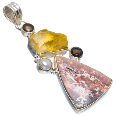 Natural Ocean Jasper,Citrine Rough,Smoky Quartz&River Pearl 925 Sterling Silver Pendant 2.25