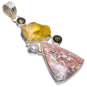 "Natural Ocean Jasper,Citrine Rough,Smoky Quartz&River Pearl 925 Sterling Silver Pendant 2.25"" B3488"