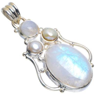 Natural Rainbow Moonstone and River Pearl Handmade Unique 925 Sterling Silver Pendant 1.5