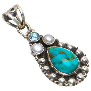 "Natural Turquoise,River Pearl and Blue Topaz Handmade Unique 925 Sterling Silver Pendant 1.5"" B3495"