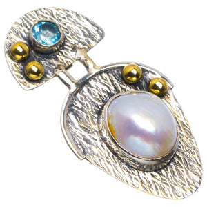 "Natural Two Tones Biwa Pearl and Blue Topaz Handmade Unique 925 Sterling Silver Pendant 1.75"" B3502"