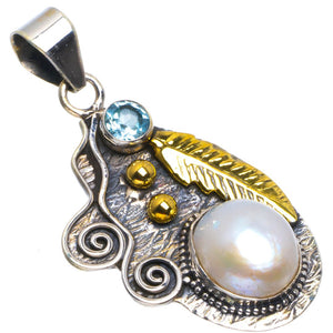 "Natural Two Tones Biwa Pearl and Blue Topaz Handmade Leaf 925 Sterling Silver Pendant 1.75"" B3514"