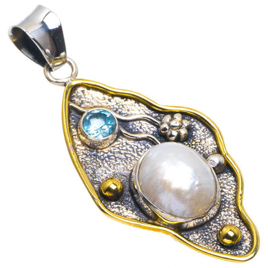 Natural Two Tones Biwa Pearl and Blue Topaz Handmade Unique 925 Sterling Silver Pendant 2