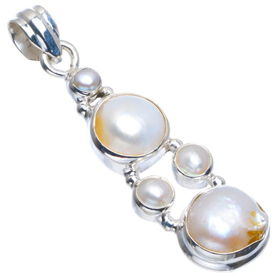 Natural Biwa Pearl Handmade Unique 925 Sterling Silver Pendant 2