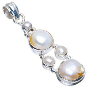 "Natural Biwa Pearl Handmade Unique 925 Sterling Silver Pendant 2"" B3527"