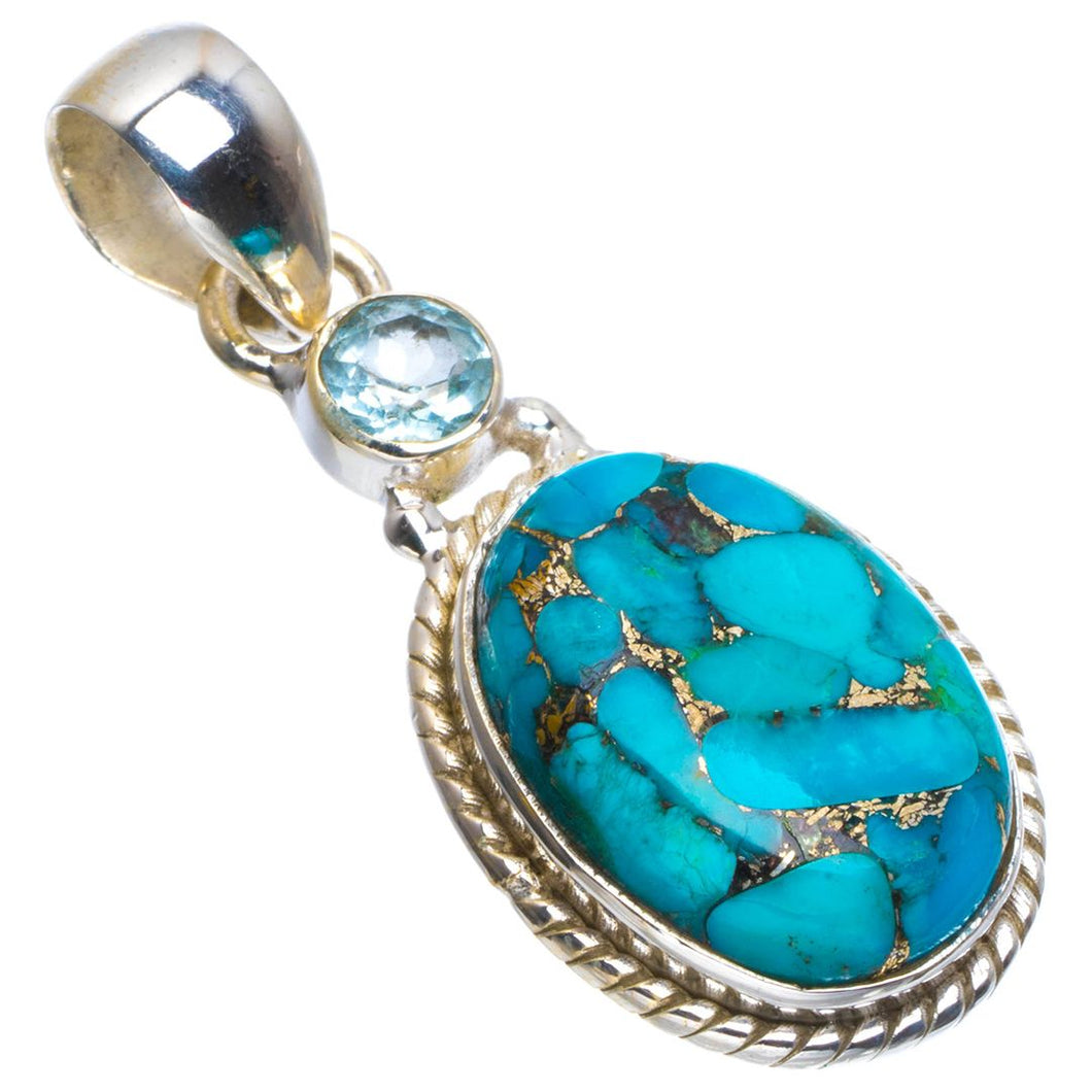 Natural Copper Turquoise and Blue Toapz Handmade Unique 925 Sterling Silver Pendant 1.5