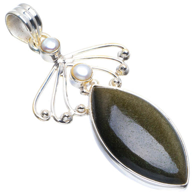 Natural Cat Eye and River Pearl Handmade Unique 925 Sterling Silver Pendant 2.25