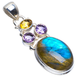 "Natural Blue Fire Labradorite,Amethyst and Citrine 925 Sterling Silver Pendant 1.5"" B3567"