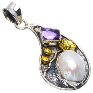 "Natural Two Tones Biwa Pearl and Amethyst Handmade Unique 925 Sterling Silver Pendant 1.75"" B3591"