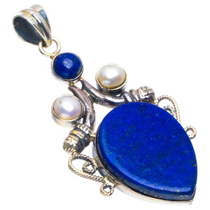 "Natural Lapis Lazuli and River Pearl Handmade Unique 925 Sterling Silver Pendant 2"" B3593"