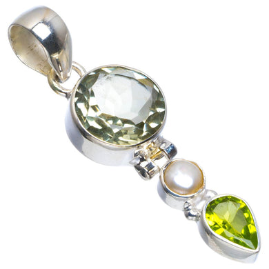 Natural Green Amethyst,River Pearl and Peridot 925 Sterling Silver Pendant 1.75