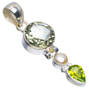 "Natural Green Amethyst,River Pearl and Peridot 925 Sterling Silver Pendant 1.75"" B3608"