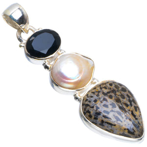 "Natural Stingray Coral,Biwa Pearl and Black Onyx Handmade Unique 925 Sterling Silver Pendant 2"" B3747"