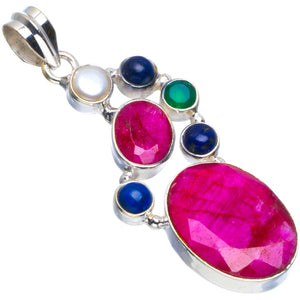 "Natural Cherry Ruby,Lapis Lazuli,River Pearl and Chrysoprase 925 Sterling Silver Pendant 2"" B3877"
