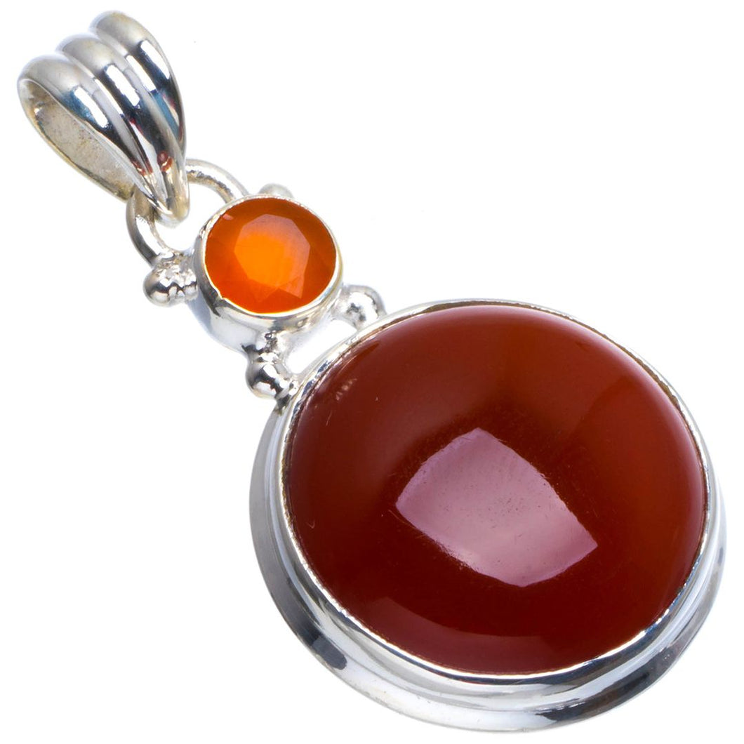 Natural Carnelian Handmade Unique 925 Sterling Silver Pendant 1.25