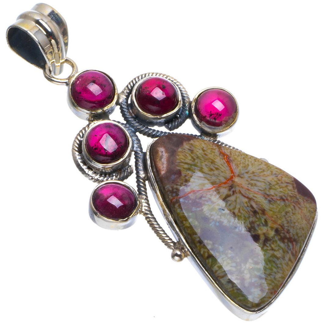 Natural Bauxite Stone&Amethyst Handmade Unique 925 Sterling Silver Pendant 2