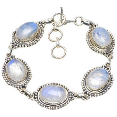 Natural Rainbow Moonstone Handmade Unique 925 Sterling Silver Bracelet 7-8