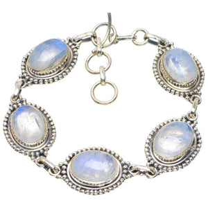 "Natural Rainbow Moonstone Handmade Unique 925 Sterling Silver Bracelet 7-8"" B4216"