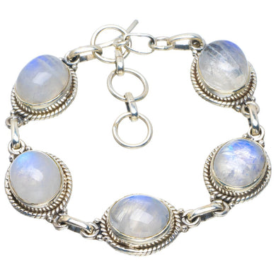Natural Rainbow Moonstone Handmade Unique 925 Sterling Silver Bracelet 6-7.25