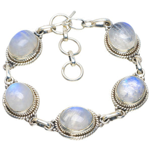 "Natural Rainbow Moonstone Handmade Unique 925 Sterling Silver Bracelet 6-7.25"" B4219"