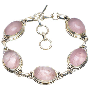 "Natural Rose Quartz Handmade Unique 925 Sterling Silver Bracelet 6.5-7.75"" B4220"