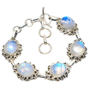 "Natural Rainbow Moonstone Handmade Unique 925 Sterling Silver Bracelet 6-7"" B4221"