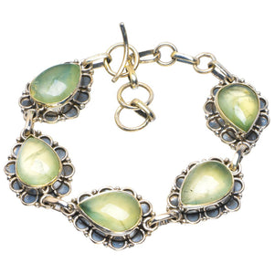 "Natural Prehnite Handmade Unique 925 Sterling Silver Bracelet 6.5-7.5"" B4223"