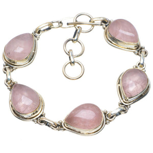 "Natural Rose Quartz Handmade Unique 925 Sterling Silver Bracelet 6.5-7.5"" B4225"